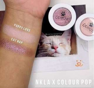 NKLA x Colourpop Puppy Love and Cat Nap Super Shock Shadows