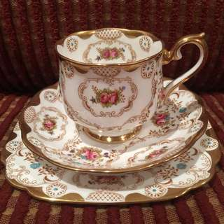 Antique 1920s Royal Albert gold and rosebuds trio