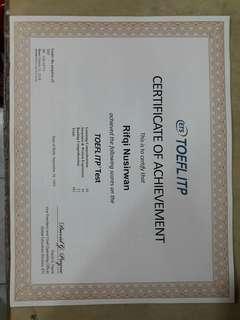 test toefl + sertifikat