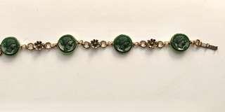 Vintage Gold-filled Greek Roman Revival Cameo Flower Station Bracelet