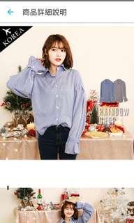 Rainbow shop 正韓-知性直條束袖襯衫