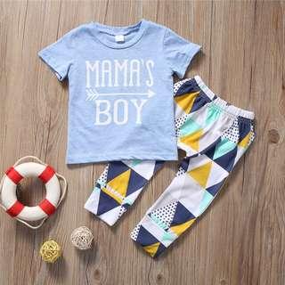 Instock - 2pc mama boy set, baby infant toddler girl children cute glad 123456789 lalalala