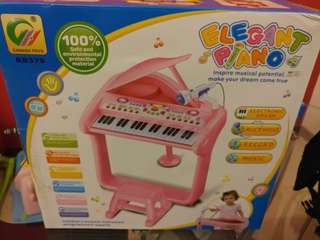 Classical Elegant Piano Children's Musical Instrument Toy Keyboard Play Set w/ Microphone, Stool