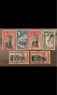 King George stamps 6v Ceylon used