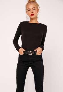 Black Ribbed Long Sleeve Top