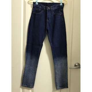 漸層直筒牛仔褲刷色牛仔長褲