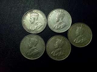 Straits KGV Half Dollar 1920. 7pcs