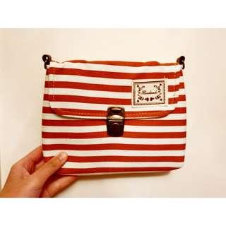 泰國帆布袋 紅白橫條