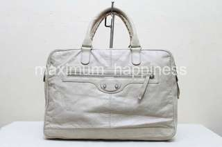 AUTHENTIC BALENCIAGA SPRING-SUMMER 2013 MEN'S CLASSIC MINI FOLDER AVIONE LAMBSKIN LEATHER SOFT BRIEFCASE / PORTFOLIO / BAG