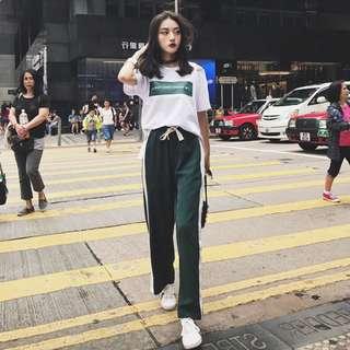 Women Korean Fashion Oversize Casual Set home women shirt+Long pants