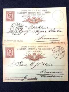 Italy 1888 10c Humbert I Postal Card + Reply Card Still Attached Used From Livorna, Italy to Barmen, Germany