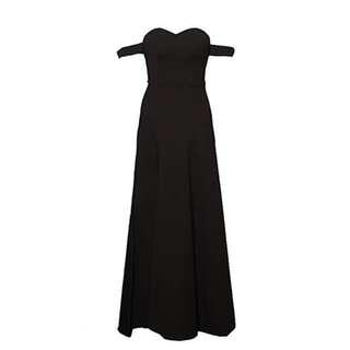 (Rent RM40/Buy RM80) Off Shoulder Elegant Dinner Spilt Black Dress with Pads (Size M)