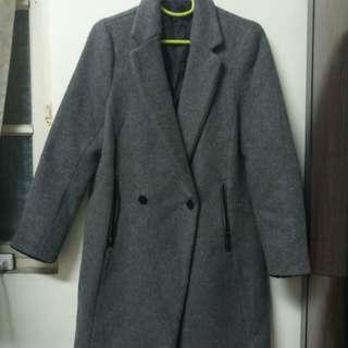 🚚 韓製 灰色毛呢長外套