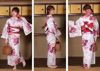 4decad129 (RENT) Authentic Japanese Kimono Yukata Ribbon Sakura