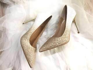 Two-tone Embellished Bling Bling Glitter Gradient Wedding Heels Shoes Pumps Two-part Jimmy Choo/ Grace Gift Style