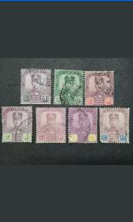 Malaya Johore Johor 1921-40 Watermarked Multiple Crown & Script C.A. Up To 12c - 7v Used Malaya Stamps #3