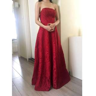 Two-way Red Structured Eyelet Crochet Tube Dress with Back Slit Open Back Crop Top Two Piece Jacquard Evening Dress