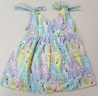 🐇 colourful bunnies ribbon dress