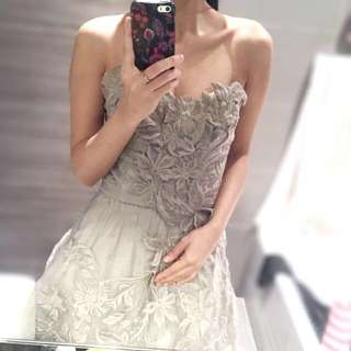 Grey Embroidered Floral Tube Dress
