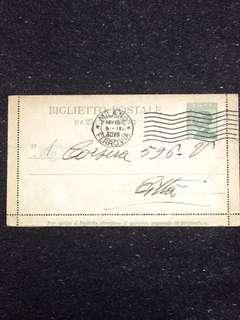 Italy 1930 25c Emmanuel III Postal Card Used Milano, Ferrovia Cancellation