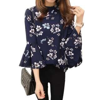 Korean Floral Chiffon Blouse Women Top