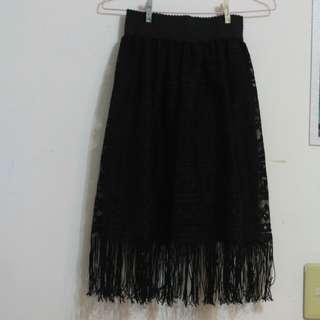 🚚 蕾絲鬚鬚造型黑裙