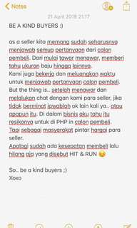 Be a kind buyers ! Curhat seller