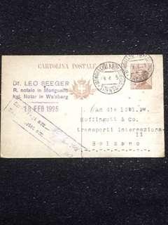 Italy 1925 30c Emmanuel III Postal Card Used Trento to Bolzana