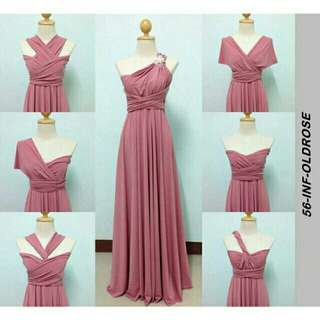 infinity floor lenght dress with tube attached..brand new and good quality.. oldrose color my onhand.. other color is pre-order..