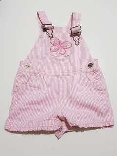 Oshkosh pink butterfly striped overalls