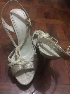 Charles & Keith silver & white heels