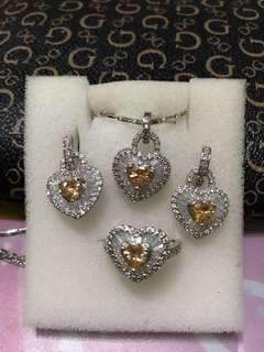 Citrine Diamond Set