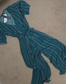 Cotton On emerald green with black Stripes V-neck jumpsuit RRP 1600 (S & L available)