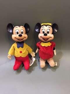 1970 年代 Disney 正版古董米奇美妮 1對出 Made in Japan 16cm高 $880