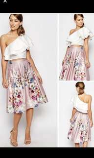 One Shoulder Top and Floral Skirt