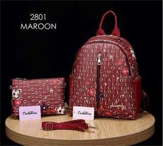 Carlo Rino Backpack Maroon Color
