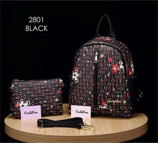 Carlo Rino Backpack Black Color
