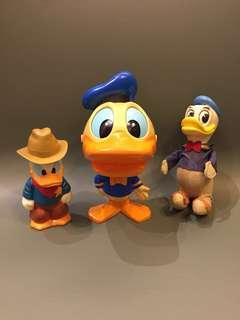 1970 年代 Disney 正版古董唐老鴨 Made in Hongkong/Japan 3隻出 14cm高 & 18cm高 & 16cm高 $980
