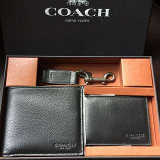 Authentic coach gift set 100% asli dompet pria card holder key ring