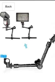 Neewer 30cm/11.8inch Aluminum Alloy Articulating Magic Arm with 15mm Rod Clamp for Mounting LED light, Monitor, Flash to DSLR Camera or DSLR Movie Rig