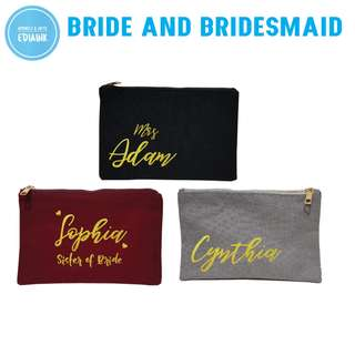 Custom Cosmetic Case - For Bride and Bridesmaid - Gold Print