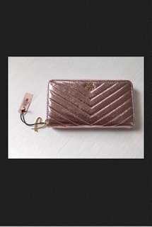 NWT Victoria's Secret V-quilt Metallic Crackle Night Out Wallet Pink
