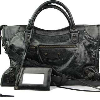 Balenciaga classic city bag black leather shoulder purse