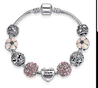P2mart✌✔Pre order stock ✔925 Crystal Four Leaf Clover Bracelet with Clear Murano Glass Beads Charm Bracelet