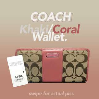 Coach Khaki / Coral Classic Wallet