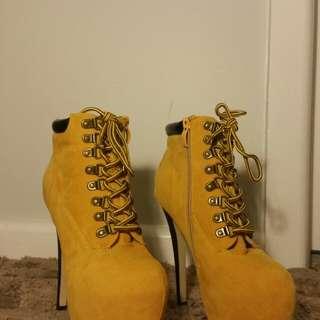 6 inch timberland inspired platform heels