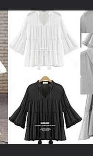 Black translucent ribbon puff sleeves top