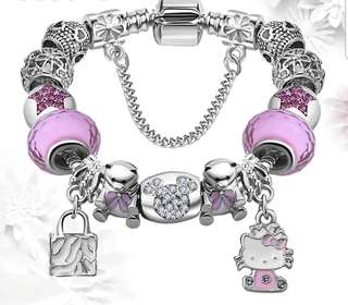 P2mart ✌✔Pre order stock ✔Pink&Blue Murano Glass Beads Crystal Kitty Charms Bracelet