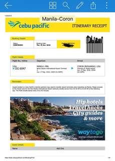 Manila to Coron - Round Trip Ticket for 2 adult
