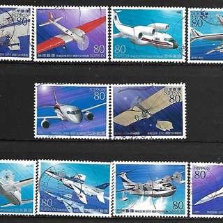 2010年日本信銷郵票 航空100年 C2082 飛機 10全